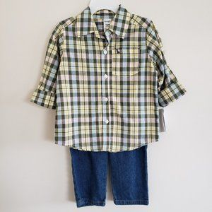 CARTER'S Plaid Button Up and Jeans Set 24 Months